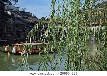 Fenghuang ancient town, Hunan province, China. The most beautiful ancient town in China.