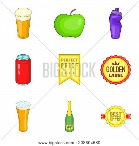 Beverage icons set. Cartoon set of 9 beverage vector icons for web isolated on white background