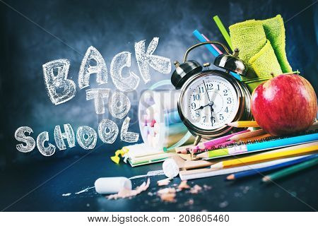 Chalk Text Back To School Alarm Clock Stationery