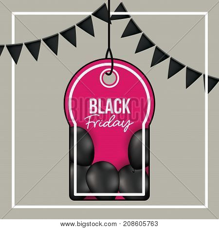 background with white frame and gray background with black festoons with pendant tag of black friday offer with black balloons and magenta backdrop vector illustration