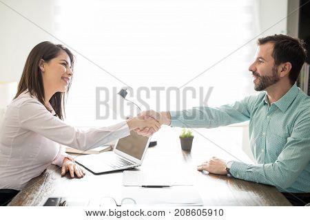 Latin Woman Hiring A New Employee