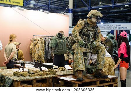 Modern Tactical Military Equipment And Weapons Demonstrated At The Exhibition