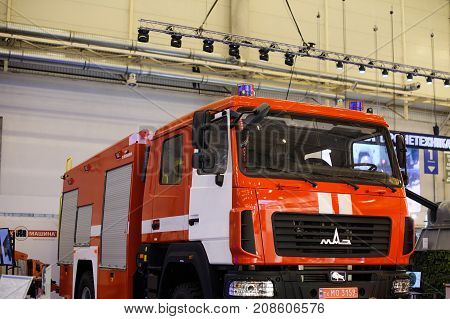 New Red Fire Truck At The Exhibition
