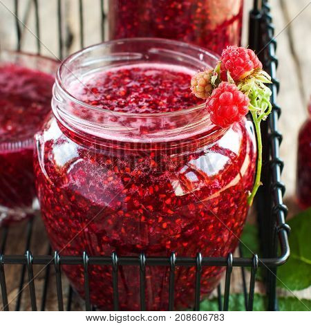 Raspberry Jam Jars Decorated Berry Preservation