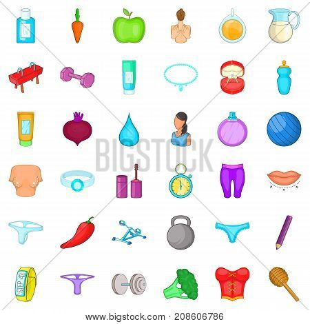 Broccoli icons set. Cartoon style of 36 broccoli vector icons for web isolated on white background