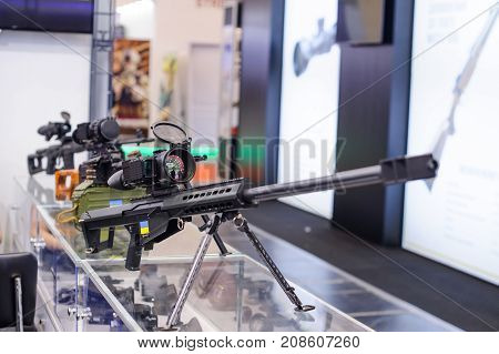 New Sniper Rifle With A Night Vision Device At The Exhibition