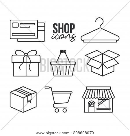 shop icons credit card shopping basket gift box cart store in monocrome color vector illustration