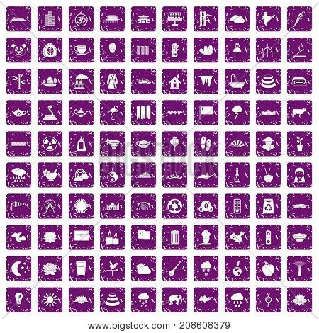 100 lotus icons set in grunge style purple color isolated on white background vector illustration