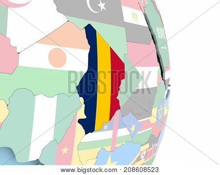Chad With Flag On Globe