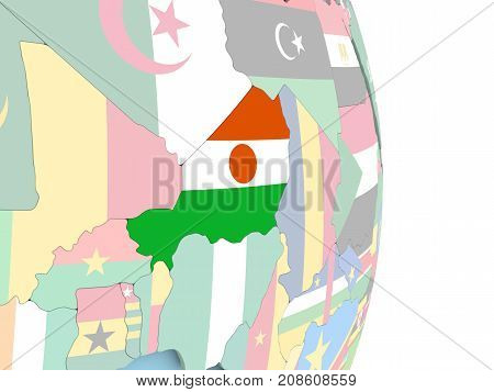 Niger With Flag On Globe