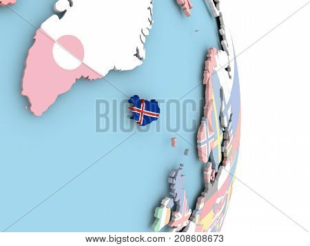 Iceland With Flag On Globe