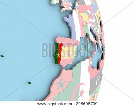 Portugal With Flag On Globe