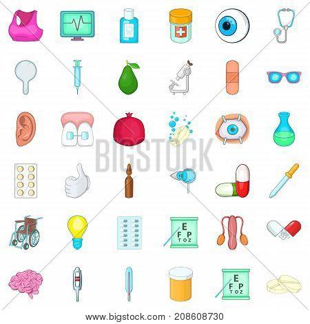Syringe icons set. Cartoon style of 36 syringe vector icons for web isolated on white background