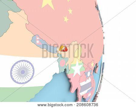 Bhutan With Flag On Globe
