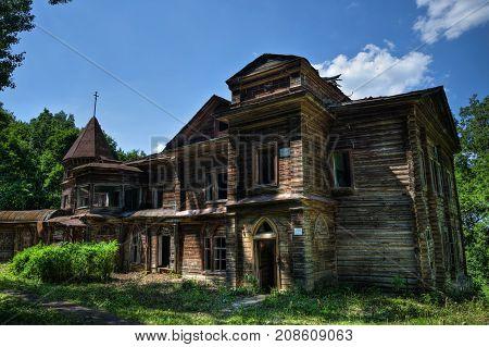 Creepy haunted rotten abandoned wooden palace. Former mansion of earl Naryshkin in Bikovo, Ryazan region