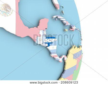 Honduras With Flag On Globe