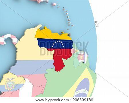 Venezuela With Flag On Globe