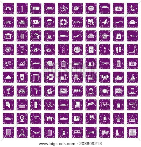 100 luggage icons set in grunge style purple color isolated on white background vector illustration