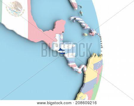 El Salvador With Flag On Globe