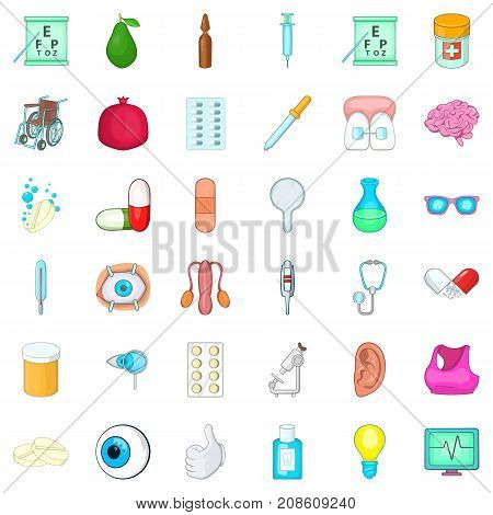Aid kit icons set. Cartoon style of 36 aid kit vector icons for web isolated on white background
