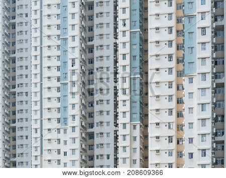 Skyscraper of Public housing building facade in Hong Kong