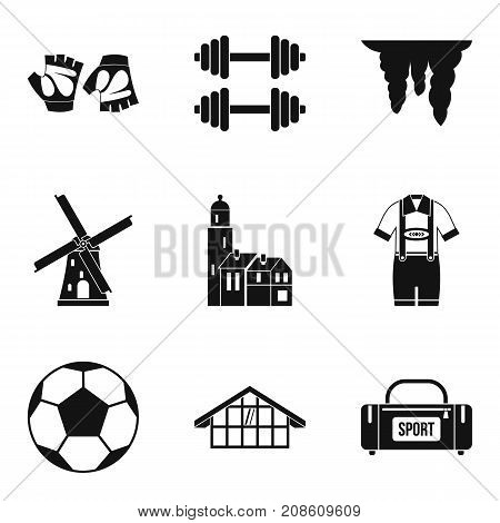 Training camp icons set. Simple set of 9 training camp vector icons for web isolated on white background