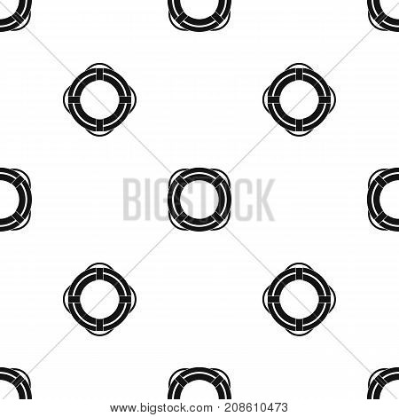 Lifebuoy pattern repeat seamless in black color for any design. Vector geometric illustration
