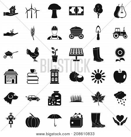 Boot icons set. Simple style of 36 boot vector icons for web isolated on white background