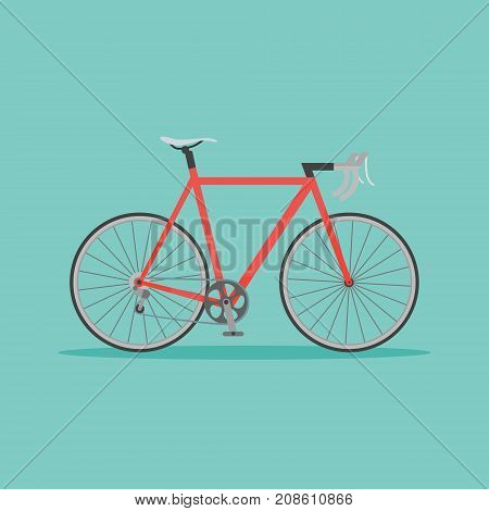 Red bicycle on teal background. Flat style vector illustration.