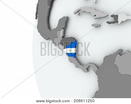 Nicaragua On Globe With Flag