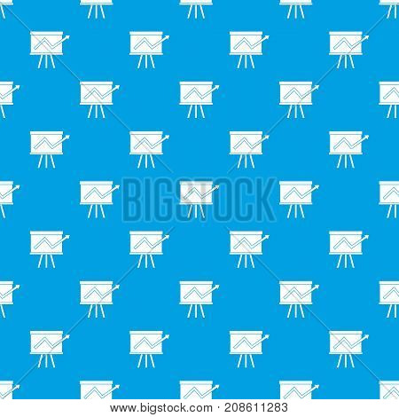 Flip chart with statistics pattern repeat seamless in blue color for any design. Vector geometric illustration