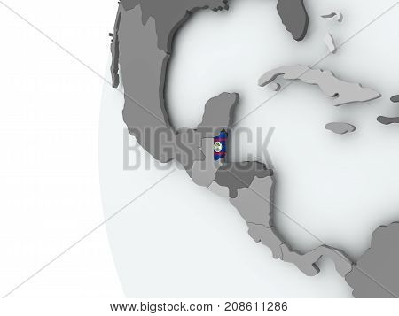 Belize On Globe With Flag