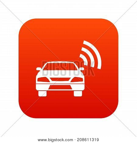 Car with wifi sign icon digital red for any design isolated on white vector illustration