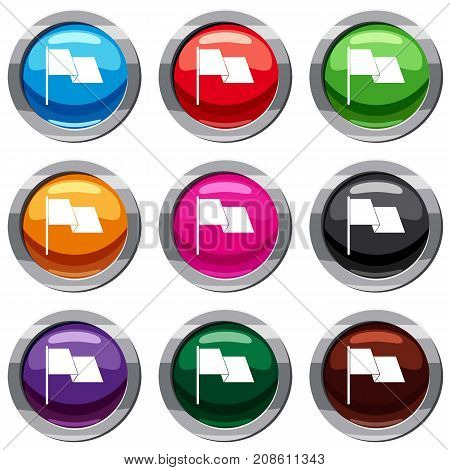 Waving flag set icon isolated on white. 9 icon collection vector illustration