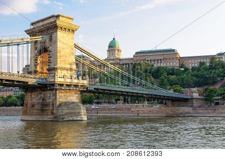 Buda Castle over the River Danube and the Chain Bridge - Budapest, Hungary