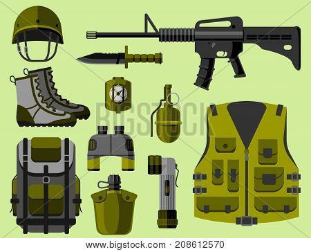 Military weapon guns symbols armor forces design and american fighter ammunition navy camouflage vector illustration. Uniform battle sniper automatic special tools.