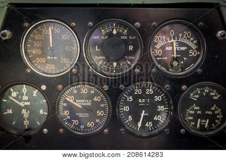 Aircraft Aviation Gauges Of An Old Aircraft Closeup.