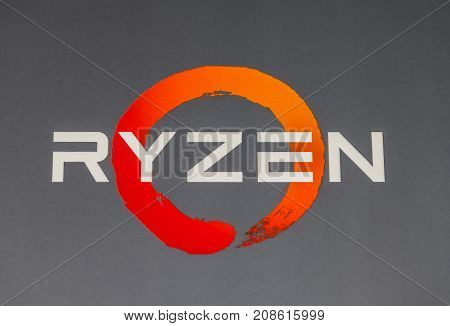 HANNOVER / GERMANY - OCTOBER 12 2017: AMD Ryzen logo on carton. Ryzen is a brand of central processing unitTs (CPUs) and accelerated processing units (APUs) marketed and designed by AMD.