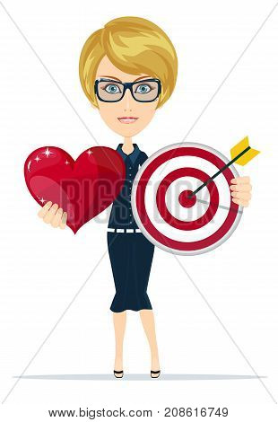 Target arrow and loving heart. success marketing symbol, love target in one red heart. Stock flat vector illustration.
