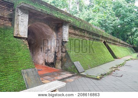 Ancient tunnel in Wat Umong, old buddhist temple in Chiang Mai, Thailand.Public place for worship and travel
