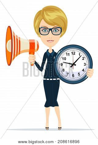 time management concept - Woman holding a clock and the megaphone. Stock flat vector illustration.