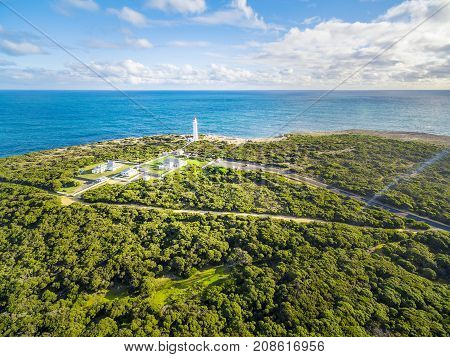 Aerial View Of Cape Nelson Lighthouse On Bright Sunny Day. Victoria, Australia.