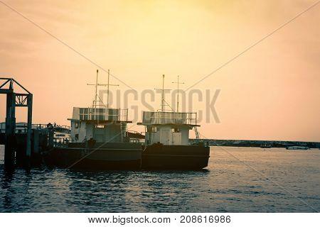 Coastal boat on sea nature close up.