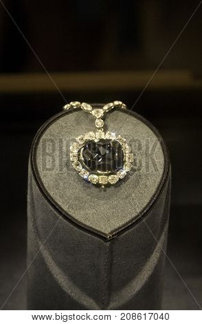 Washington, DC - September 9, 2014 - Vertical of the Hope Diamond on display at the Smithsonian National Museum of Natural History in Washington