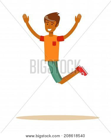 Joyous man jumping with raised arms. Stock flat vector illustration.