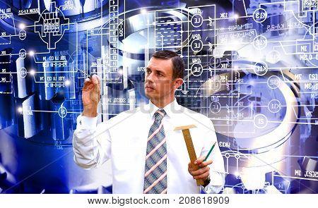 Manufacturing designing construction technology. Engineer designer.Industrial technology