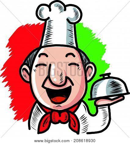 Cute Chef Character mascot illustration serving food, vector
