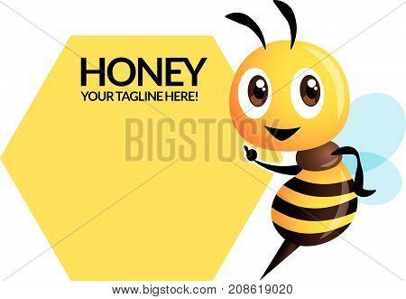 Cartoon cute bee character with big signboard, flat vector mascot