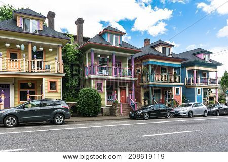 Portland,Oregon,USA - June 9, 2017 : Colorful houses in Glisan street
