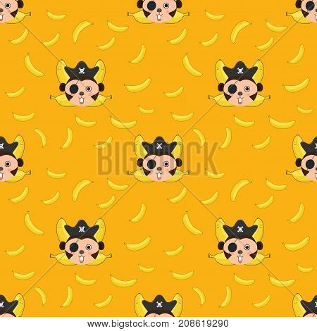 Seamless pattern Monkey and bananas logo. Monkey head and crossed bananas.pirate monkey cartoon T-shirt design for kids on yellow background vector illustration